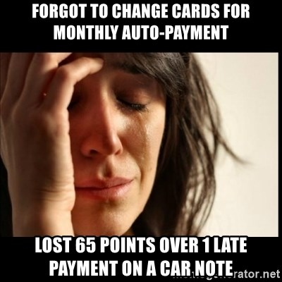 First World Problems - forgot to change cards for monthly auto-payment lost 65 points over 1 late payment on a car note