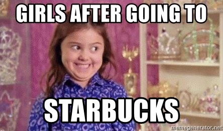 Girl Excited & Trolling - girls after going to  Starbucks