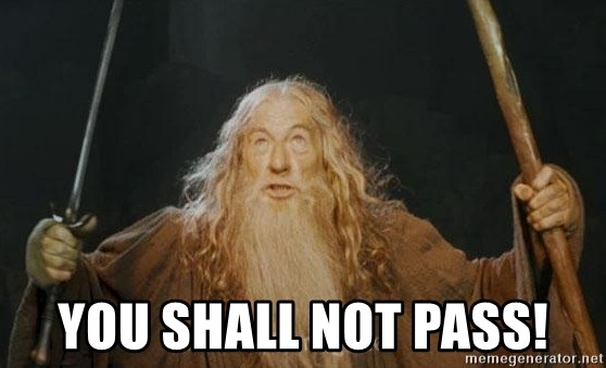 You shall not pass - YOU SHALL NOT PASS!