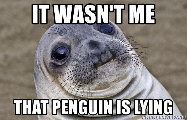 Awkward Seal - it wasn't me that penguin is lying
