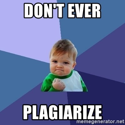 Success Kid - Don't ever Plagiarize