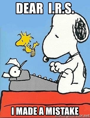 Snoopy - Dear  I.R.S. I made a mistake