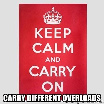 Keep Calm - Carry Different Overloads