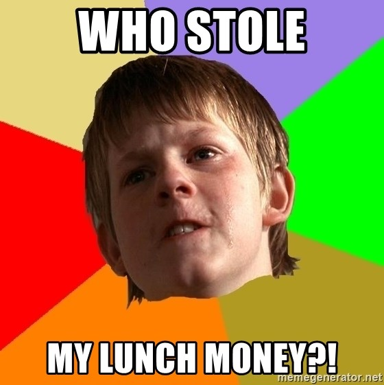 Angry School Boy - who stole my lunch money?!