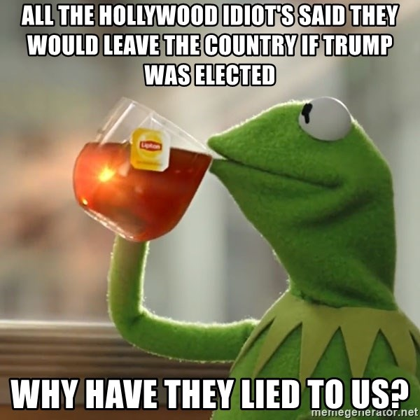 Kermit The Frog Drinking Tea - ALL THE HOLLYWOOD IDIOT'S SAID THEY WOULD LEAVE THE COUNTRY IF TRUMP WAS ELECTED WHY HAVE THEY LIED TO US?