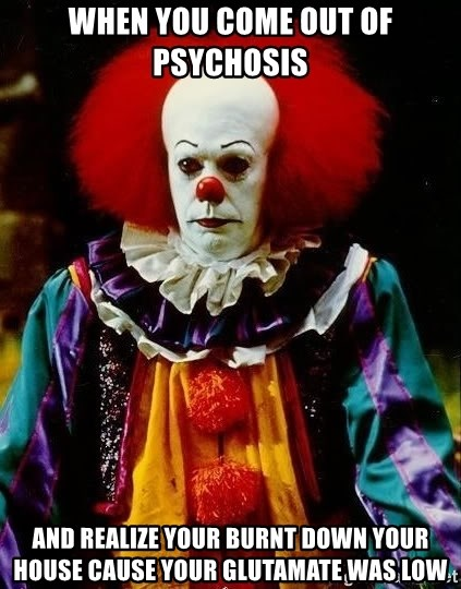 it clown stephen king - when you come out of psychosis and realize your burnt down your house cause your glutamate was low