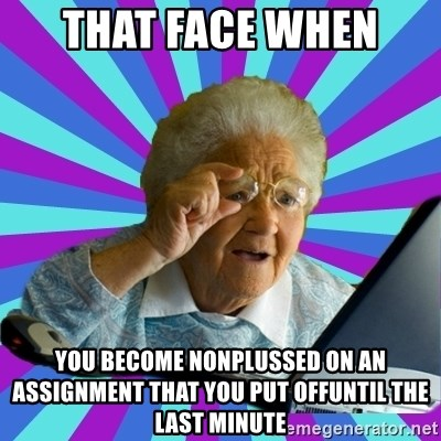 old lady - that face when  you become nonplussed on an assignment that you put offuntil the last minute