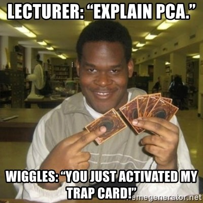 """You just activated my trap card - Lecturer: """"Explain PCA."""" Wiggles: """"You just activated my trap card!"""""""
