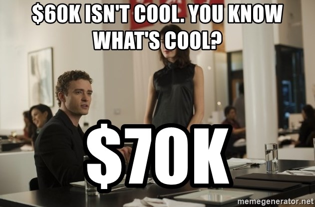 sean parker - $60k isn't cool. You know what's cool? $70k