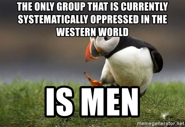 Unpopular Opinion Puffin - The only group that is currently systematically oppressed in the Western World is men