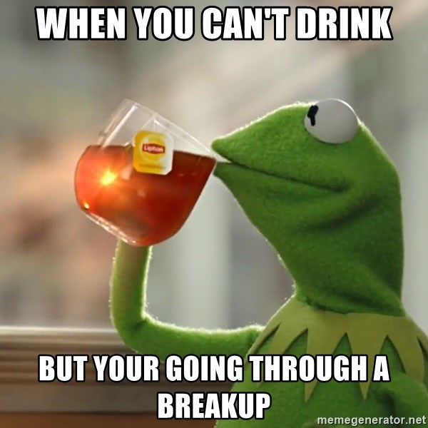 Kermit The Frog Drinking Tea - When you can't Drink But your going through a breakup