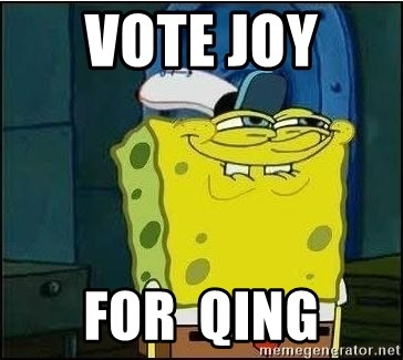 Spongebob Face - vote joy  for  qing