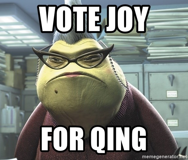 Roz from Monsters Inc - vote joy  for qing