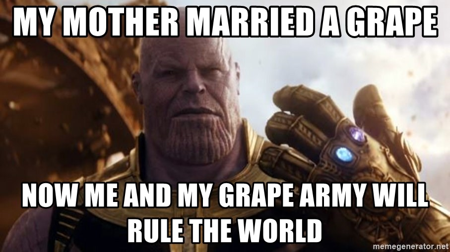 Thanos Missing Invoices - my mother married a grape now me and my grape army will rule the world