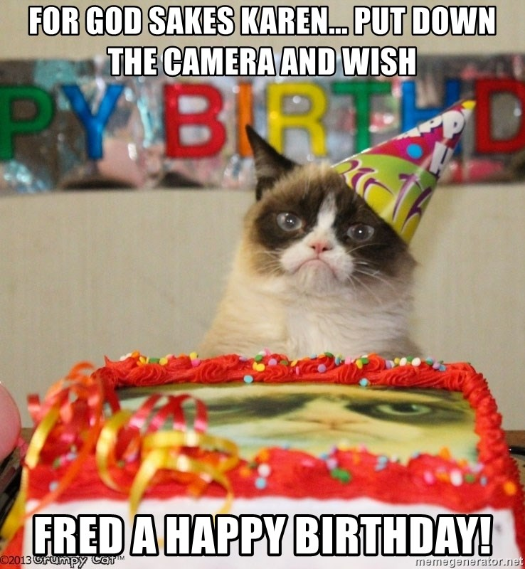 Grumpy Cat Birthday hat - For god sakes karen... put down the camera and wish fred a happy birthday!