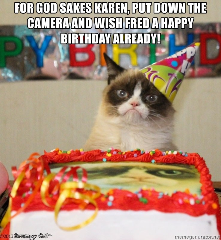 Grumpy Cat Birthday hat - For god sakes karen, put down the camera and wish fred a happy birthday already!
