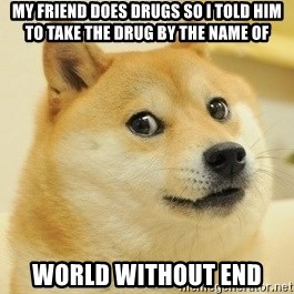 Dogeeeee - my friend does drugs so i told him to take the drug by the name of world without end
