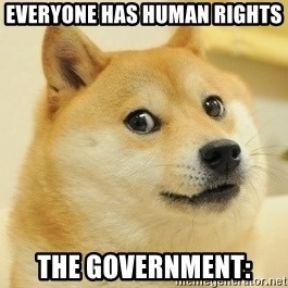 Dogeeeee - everyone has human rights  the government: