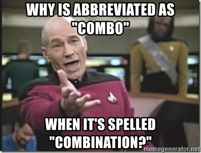 """star trek wtf - Why is abbreviated as """"combo"""" When it's spelled """"Combination?"""""""