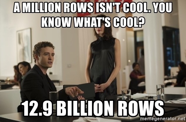 sean parker - A MILLION ROWS ISN'T COOL. YOU KNOW WHAT'S COOL? 12.9 BILLION ROWS