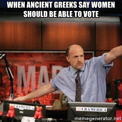 Jim Kramer Mad Money Karma - when ancient greeks say women should be able to vote
