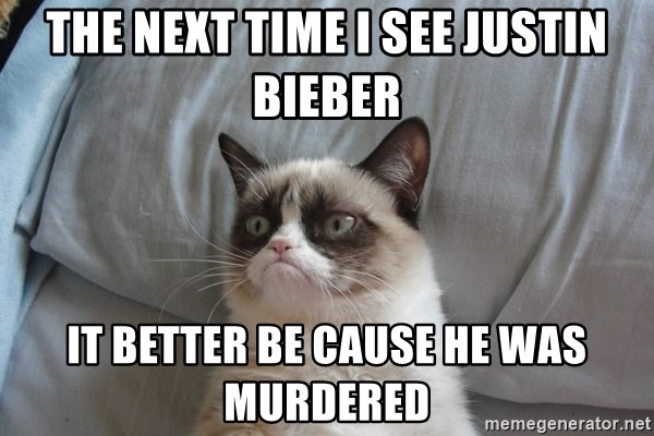 Grumpy cat good - The next time I see Justin Bieber It better be cause he was murdered
