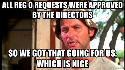 Bill Murray Caddyshack - All Reg O requests were approved by the Directors So we got that going for us, which is nice