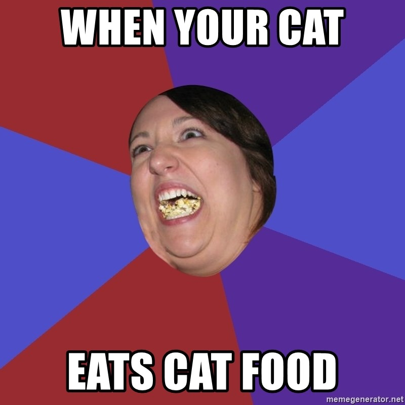 Epic Food Lady - when your cat  eats cat food