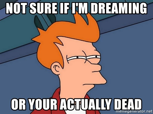 Futurama Fry - not sure if i'm dreaming or your actually dead