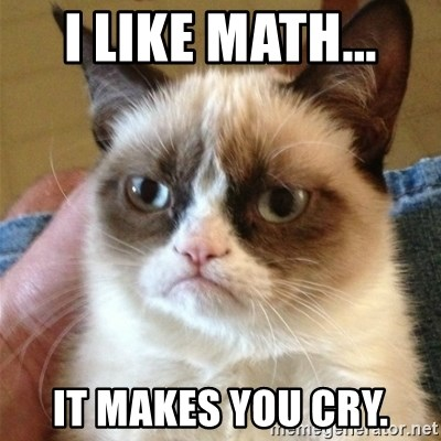 Grumpy Cat  - I like math...  it makes you cry.