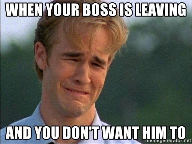Dawson Crying - When your boss is leaving and you don't want him to