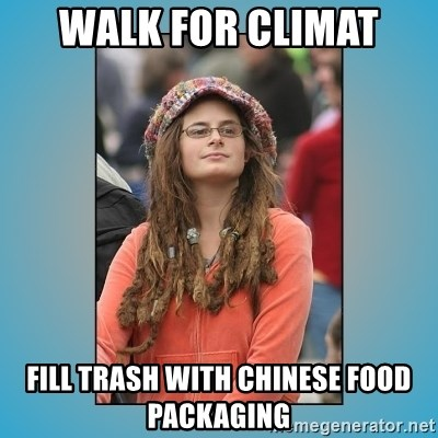 hippie girl - Walk for climat Fill trash with chinese food packaging