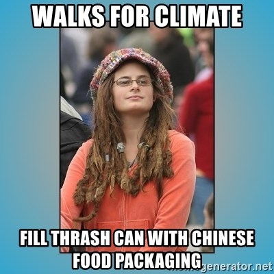 hippie girl - Walks for climate Fill thrash can with chinese food packaging