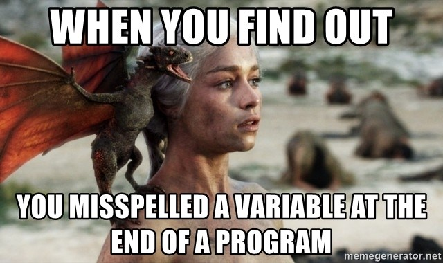 Mother of Dragons - When you find out you misspelled a variable at the end of a program