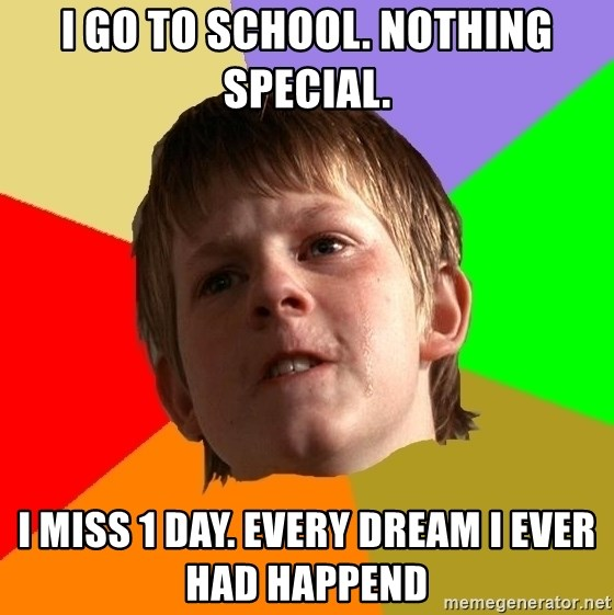 Angry School Boy - I go to school. nothing special. I MISS 1 DAY. Every dream i ever had happend