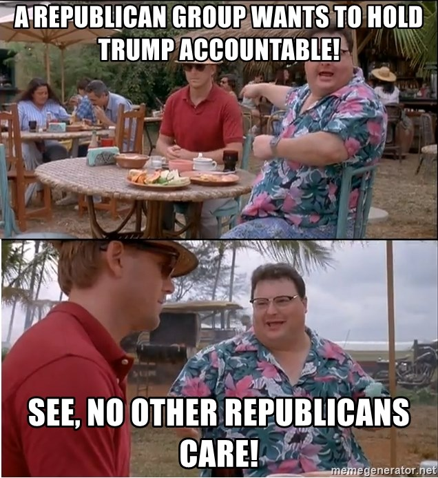 See? Nobody Cares - A Republican Group Wants to Hold Trump Accountable! See, No Other Republicans Care!