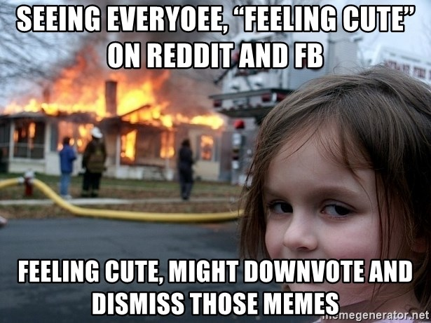 "Disaster Girl - Seeing everyoee, ""feeling cute"" on Reddit and FB Feeling cute, might downvote and dismiss those memes"