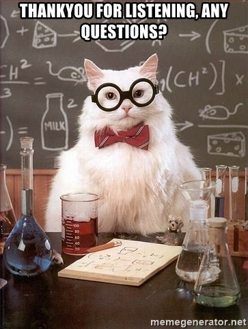 Chemistry Cat - thankyou for listening, any questions?