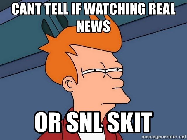 Futurama Fry - cant tell if watching real news or snl skit