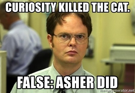 Dwight Schrute - Curiosity killed the cat. FALSE: Asher did
