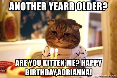 Birthday Cat - Another Yearr older? Are you kitten me? Happy birthday,Adrianna!