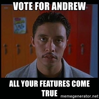 Vote for pedro - Vote for Andrew All your features come true