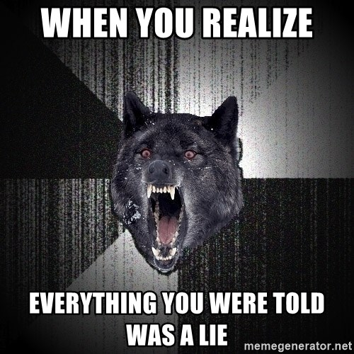 Insanity Wolf - When you realize  Everything you were told was a lie