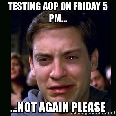 crying peter parker - Testing AOP on Friday 5 PM... ...not again please