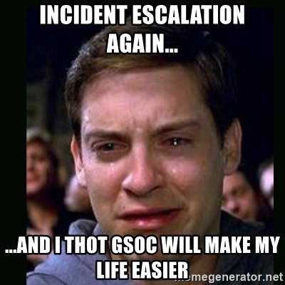 crying peter parker - Incident escalation again... ...and I thot GSOC will make my life easier