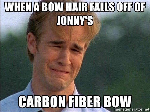 Dawson Crying - when a bow hair falls off of jonny's  carbon fiber bow