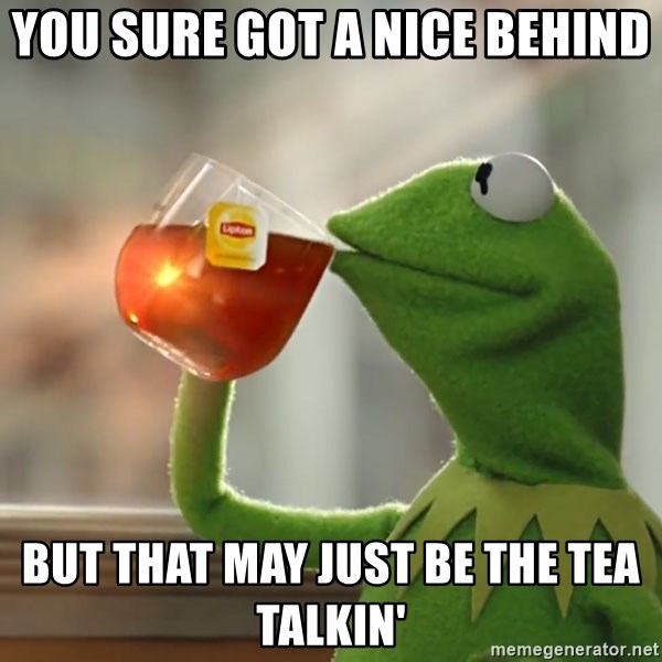 Kermit The Frog Drinking Tea - you sure got a nice behind but that may just be the tea talkin'