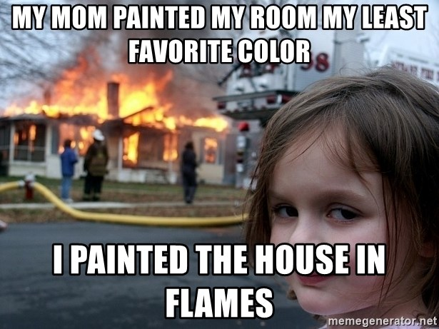 Disaster Girl - my mom painted my room my least favorite color i painted the house in flames