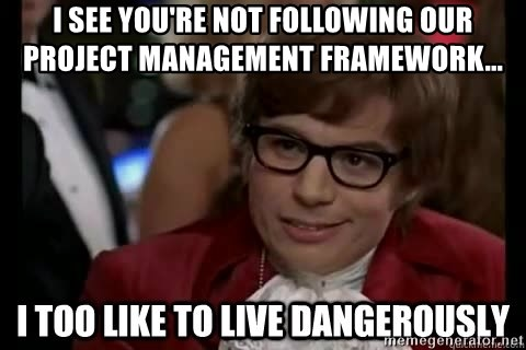 I too like to live dangerously - I See you're not following our project management framework...