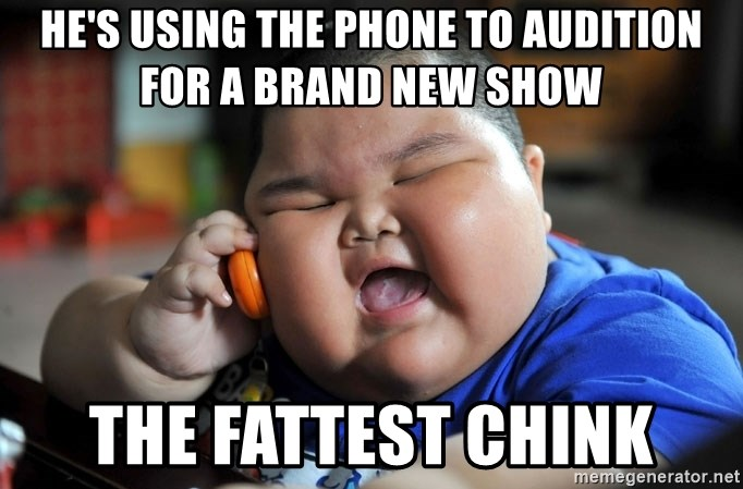 Fat Asian Kid - he's using the phone to audition for a brand new show the fattest chink
